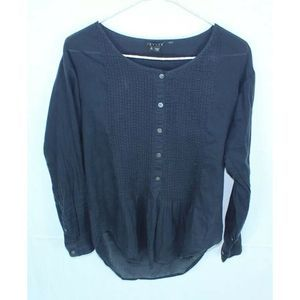 Theory Womens Size P Pintuck Top Navy Blue Blouse